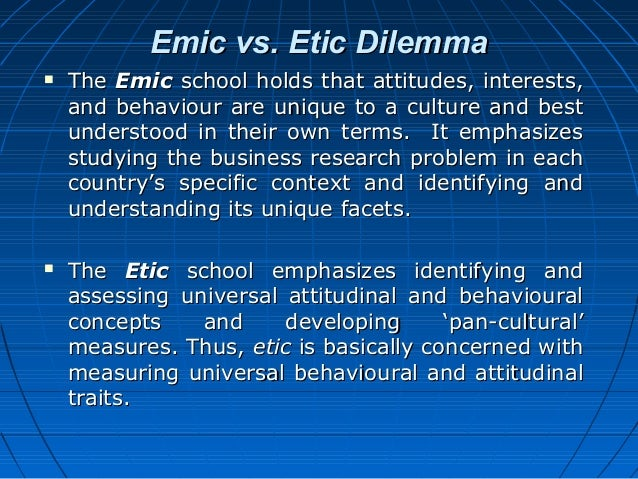 emic vs etic What is the difference between emic and etic emic perspective relies on subjective meaning of the participant etic perspective relies on theories and concepts.
