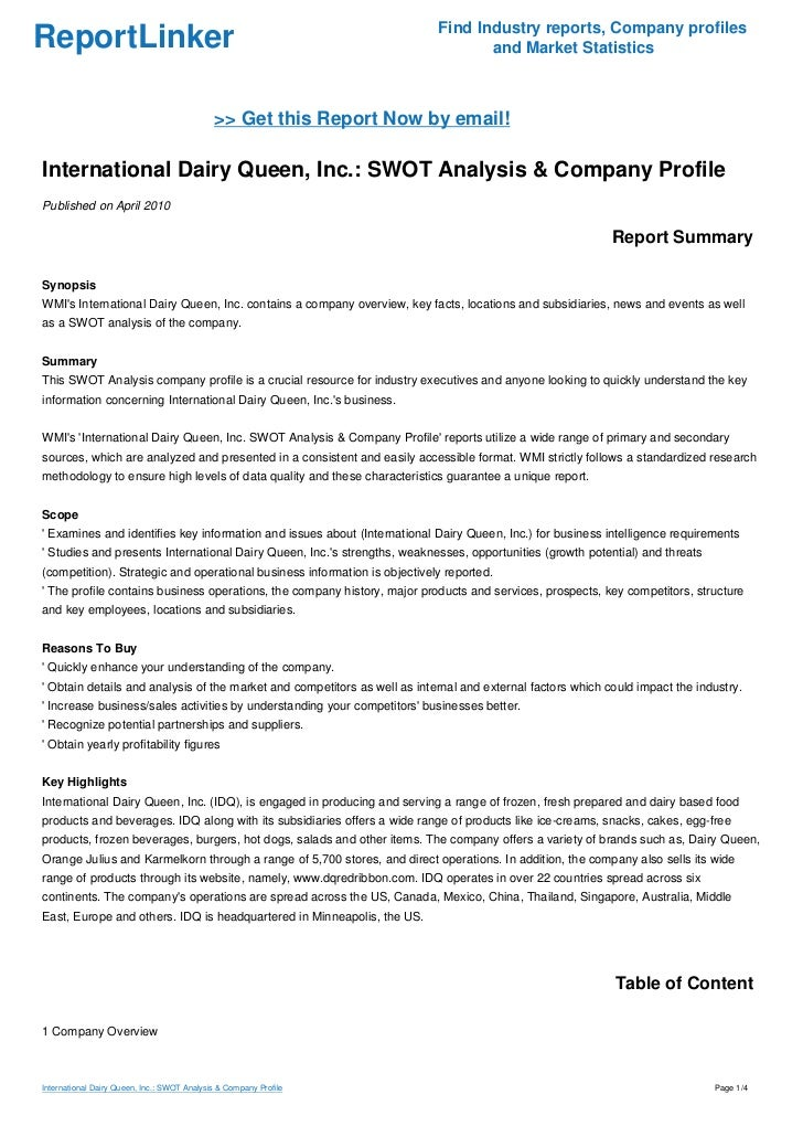 international dairy queen inc essay Cross cultural management should be considered at dairy queen in order to from business  essay uploaded  their ability to develop its international.