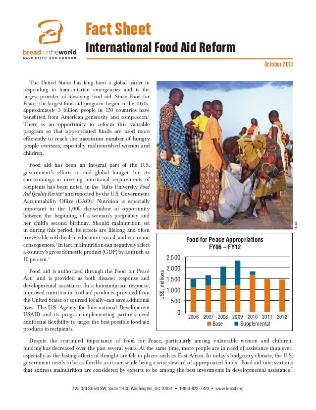 Fact Sheet International Food Aid Reform October 2013 The United States has long been a global leader in responding to hum...
