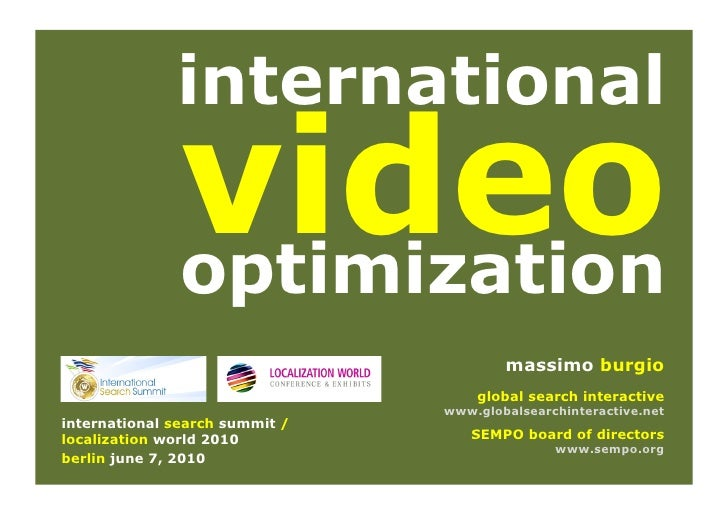 International Video SEO Optimization ISS Berlin Massimo Burgio