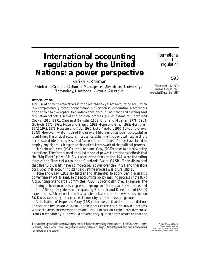 International accounting regulation 593 International accounting regulation by the United Nations: a power perspective She...