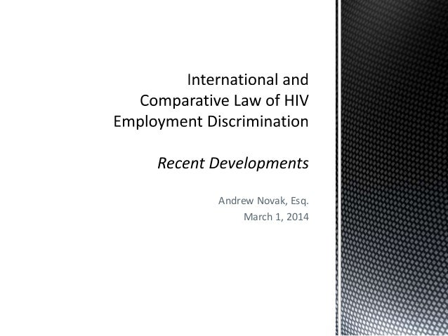 International and Comparative Law of HIV Employment Discrimination