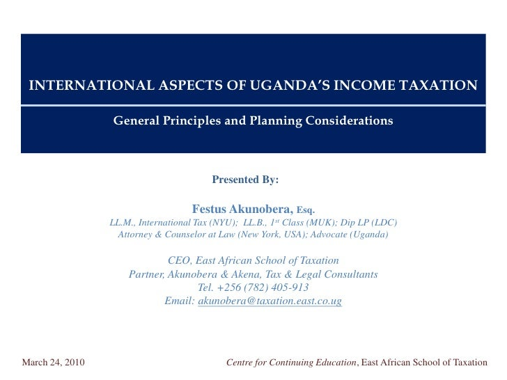INTERNATIONAL ASPECTS OF UGANDA'S INCOME TAXATION                   General Principles and Planning Considerations        ...
