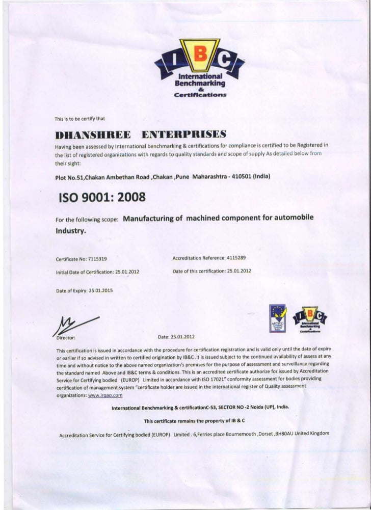 International benchmarking & certifications