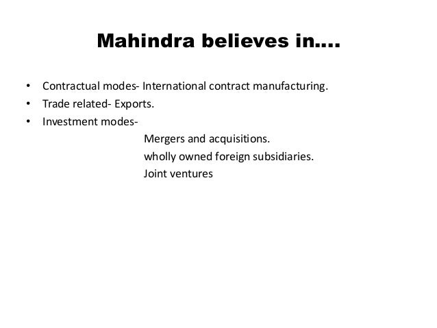 why renault entered into joint venture with mahindra Modes of international business mahindra renault etc one more example is american motor corporation entered into a joint venture with beijing automotive.