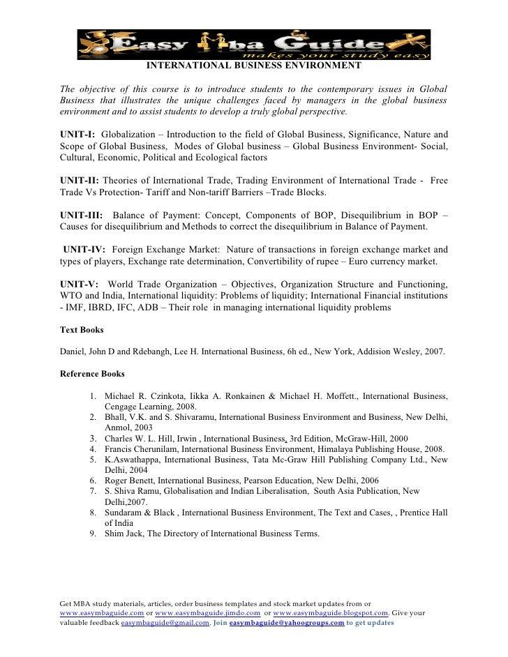 International Business Environment   Full Syllabus