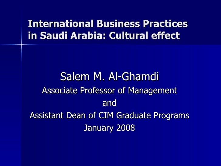 International business practices in saudi arabia