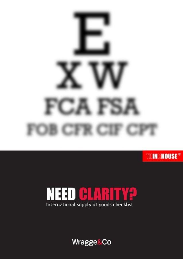 *need clarity?International supply of goods checklist