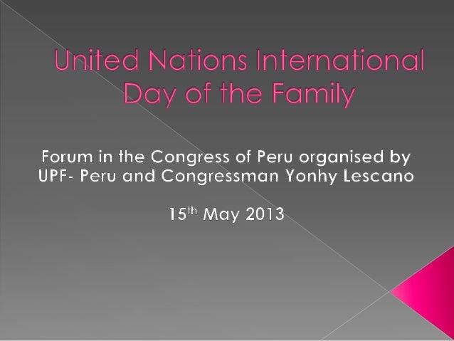 Congressman Lescano, UN Representative Rebecca Arias and other speakersapplaud the presentation of the recent activities o...