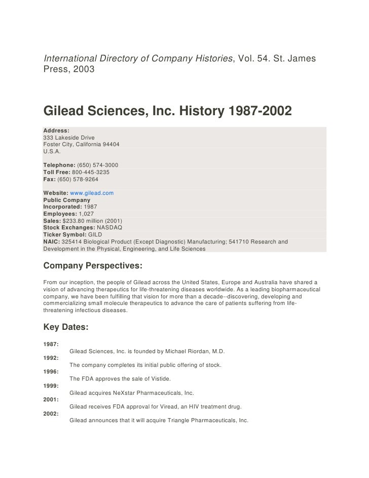 International directory of company histories gilead sciences, inc. 1987 2002