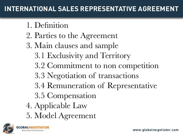 INTERNATIONAL SALES REPRESENTATIVE AGREEMENT TEMPLATE