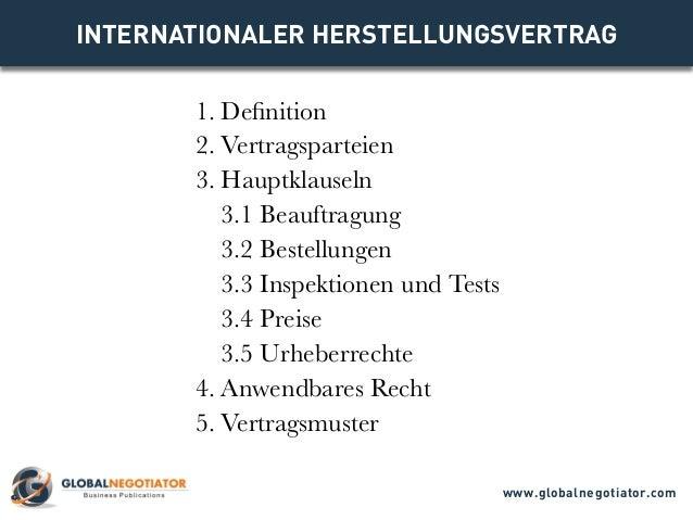 INTERNATIONALER HERSTELLUNGSVERTRAG - Muster und Vorlage