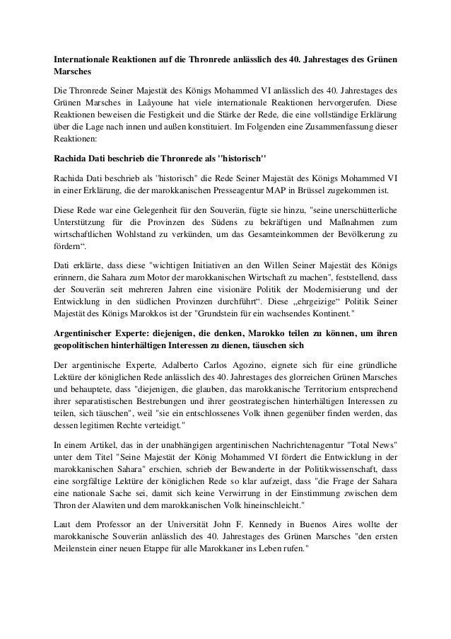 Internationale Reaktionen auf die Thronrede anlässlich des 40. Jahrestages des Grünen Marsches Die Thronrede Seiner Majest...