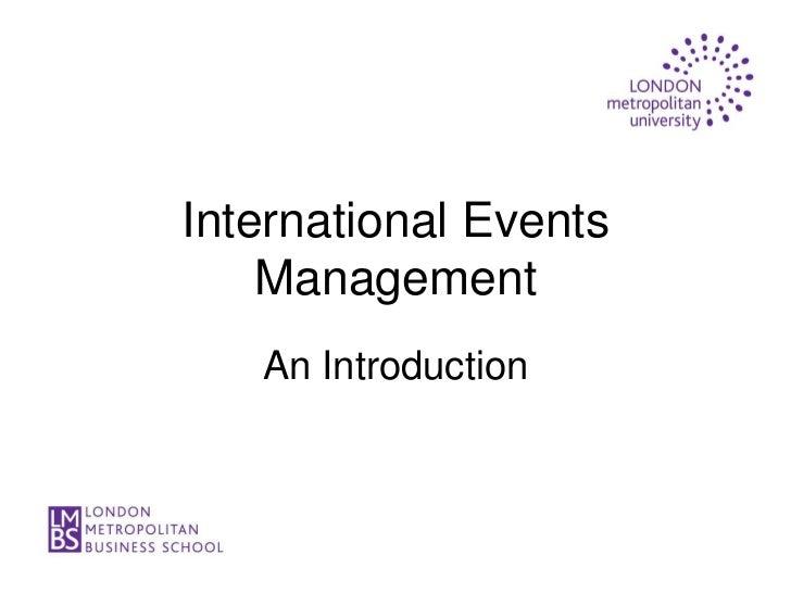 International Events    Management   An Introduction