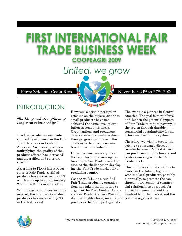 FIRST INTERNATIONAL FAIR            TRADE BUSINESS WEEK                                         COOPEAGRI 2009            ...