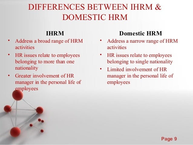 differences between hrm and international hrm essay Difference between global or ihrm and  a major reason for the failure of an international venture is the lack of understanding of the differences between.