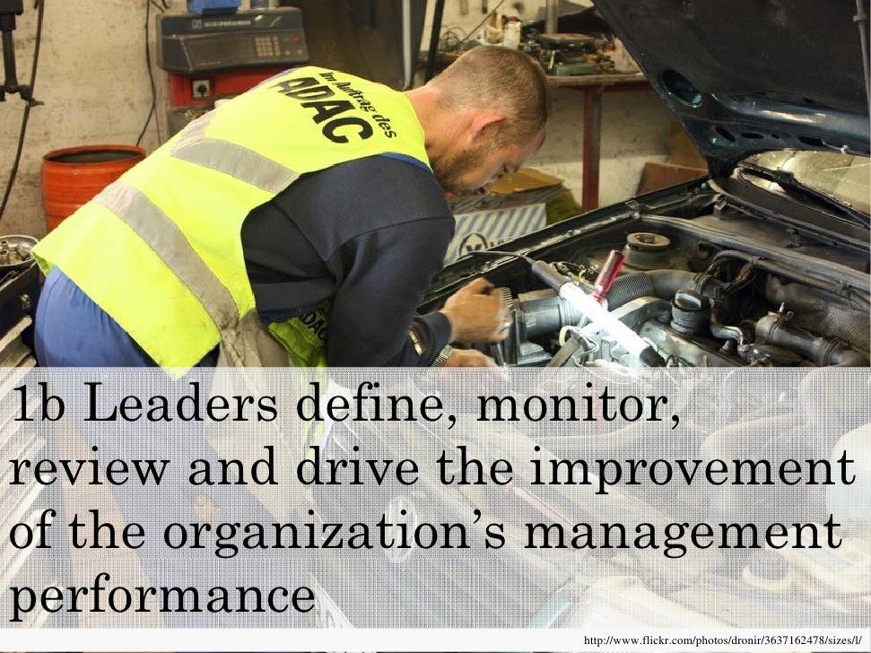 1b Leaders define, monitor, review and drive the improvement of the organization's management performance