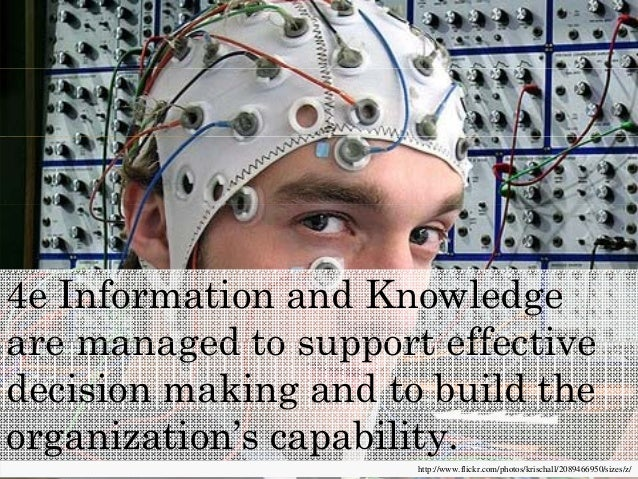 4e Information and Knowledge are managed to support effectiveare managed to support effective decision making and to build...