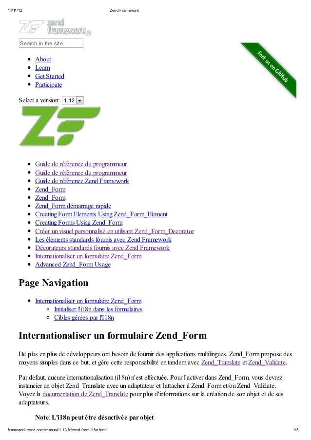 Internationaliser un formulaire zend form