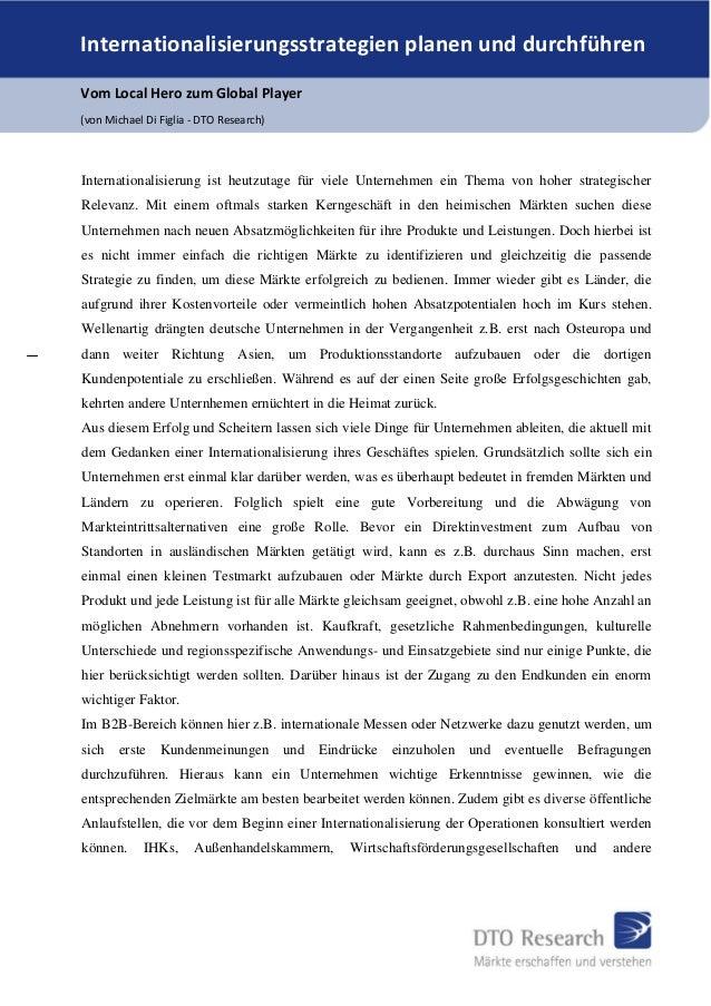 Internationalisierungsstrategien planen und durchführen Vom Local Hero zum Global Player (von Michael Di Figlia - DTO Rese...