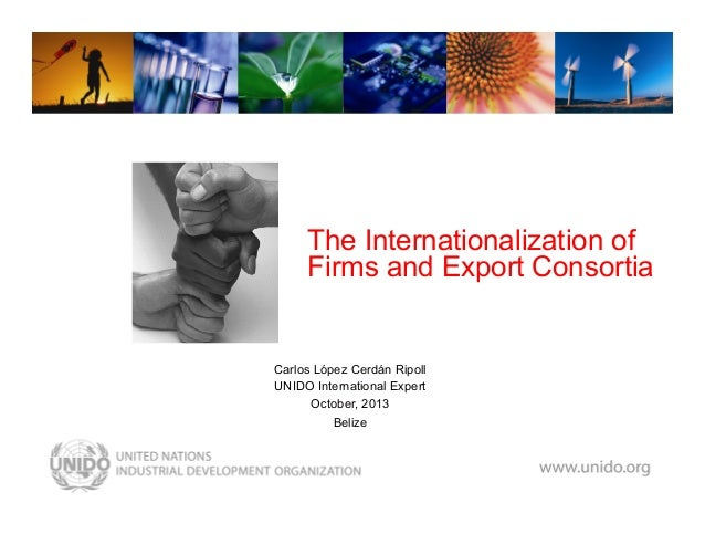 www.unido.org  The Internationalization of Firms and Export Consortia  Carlos López Cerdán Ripoll UNIDO International Expe...