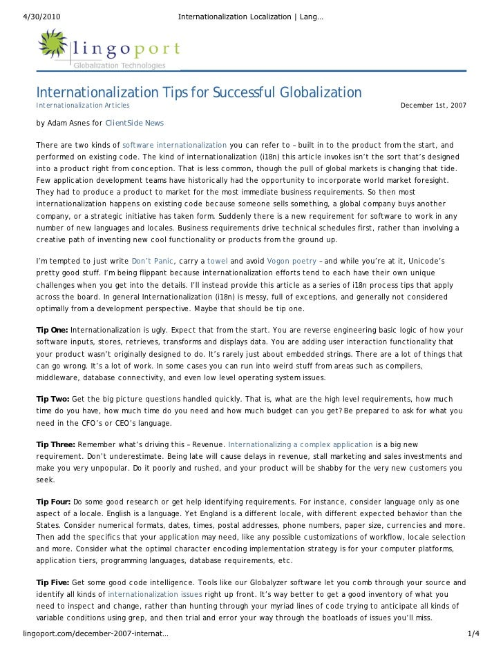 Internationalization Tips for Successful Globalization: Internationalization, Localization, Language Translation and Software I18n Article