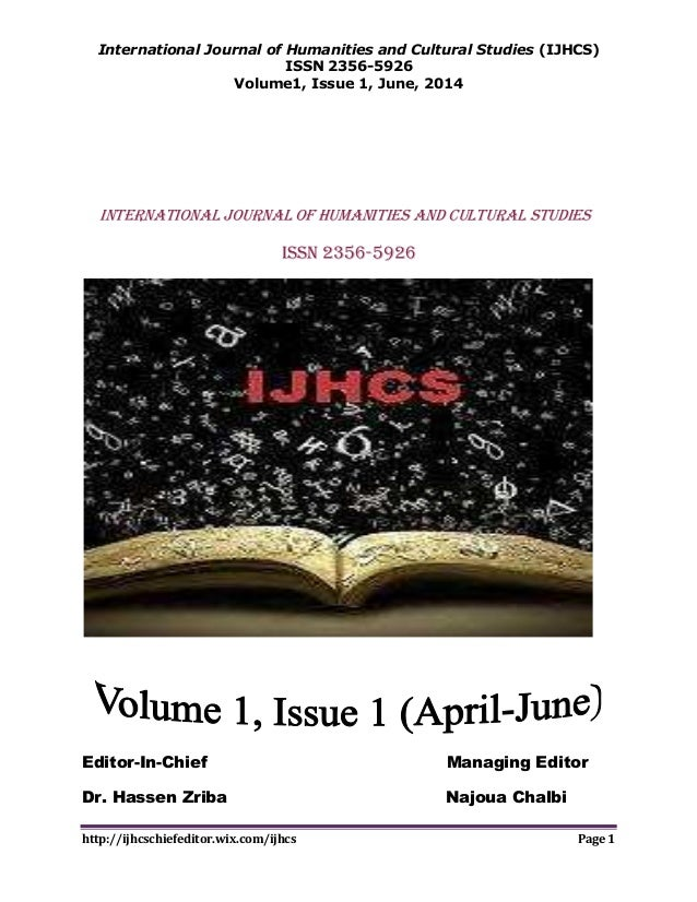 International Journal of Humanities and Cultural Studies (IJHCS) ISSN 2356-5926 Volume1, Issue 1, June, 2014 http://ijhcsc...