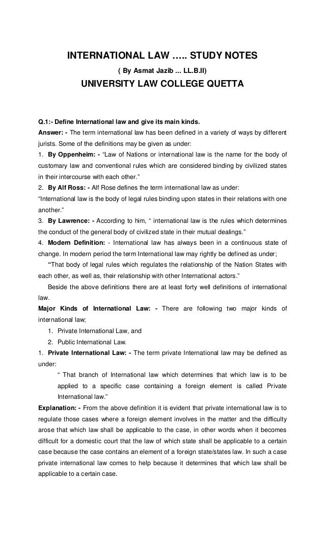 International law notes by asmatullah