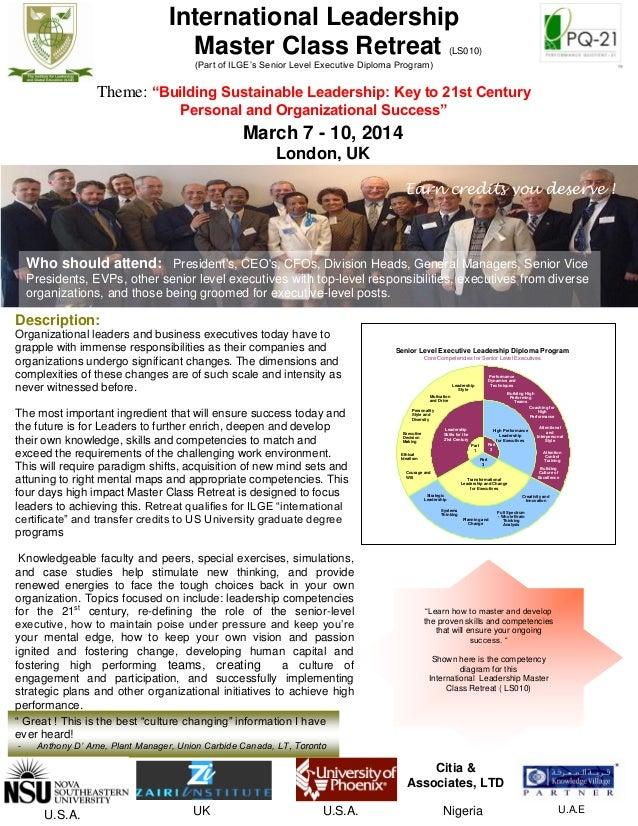 International Leadership Master Class Retreat   - London   March 7 - 10, 2014    v2