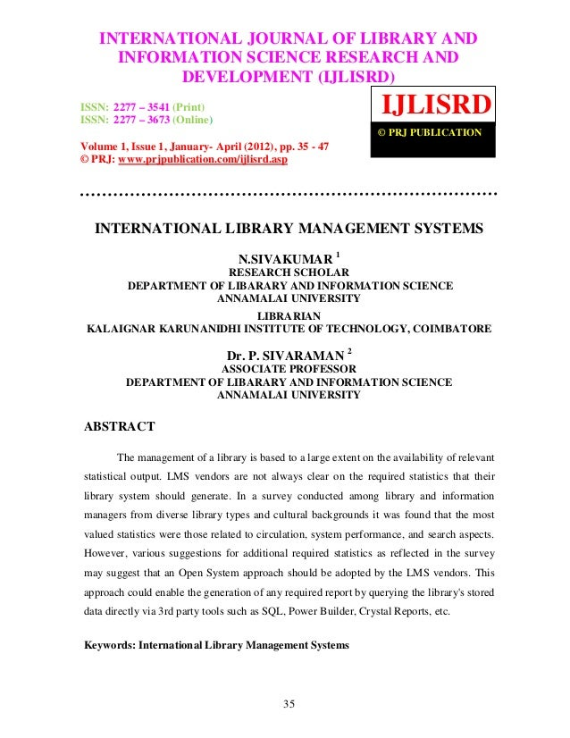 International Journal of Library and Information Science Research and Development    INTERNATIONAL JOURNAL OF LIBRARY AND(...