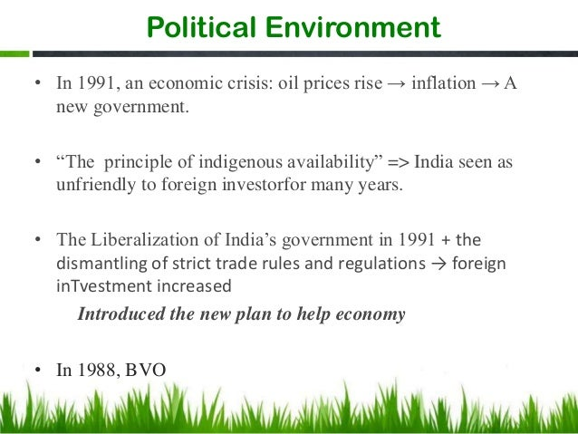political and economic environment in india 1 - political and economic environment in india introduction political environment india became an official republic in 1950, and is currently the second largest country with a population of over 1 2 billion people.