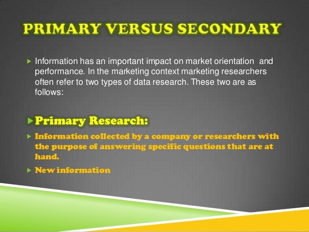 the importance of primary and secondary marketing research