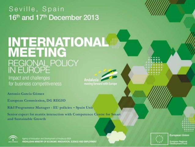 iMeeting: presentación de Antonio García Gómez, DG REGIO. Comisión Europea
