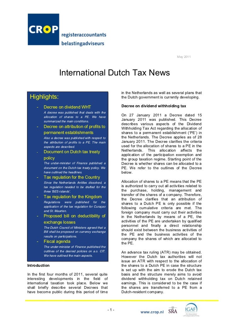 CROP International Tax Newsletter May 2011