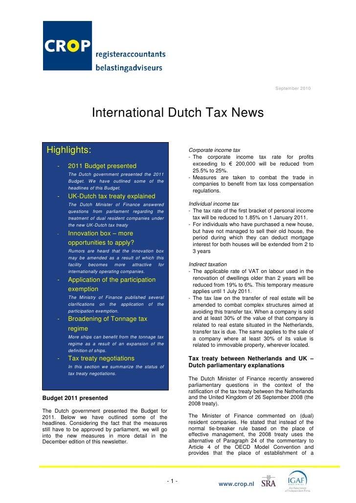 CROP registeraccountants en CROP belastingadviseurs International Dutch Tax Newsletter September 2010