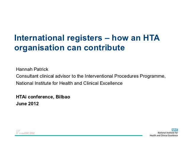 International registers – how an HTA organisation can contribute.