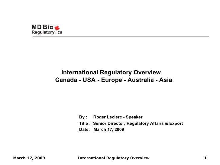 International Regulatory Overview   2009 Rev Linkedln