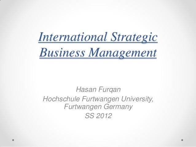 International strategic business management