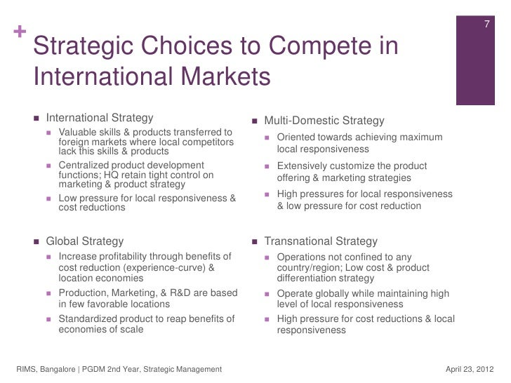 towards international and transnational management Global vs transnational strategy international and transnational a global strategy aims towards global standardisation.