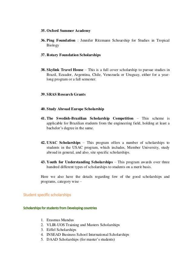 Rotary Scholarship Essay