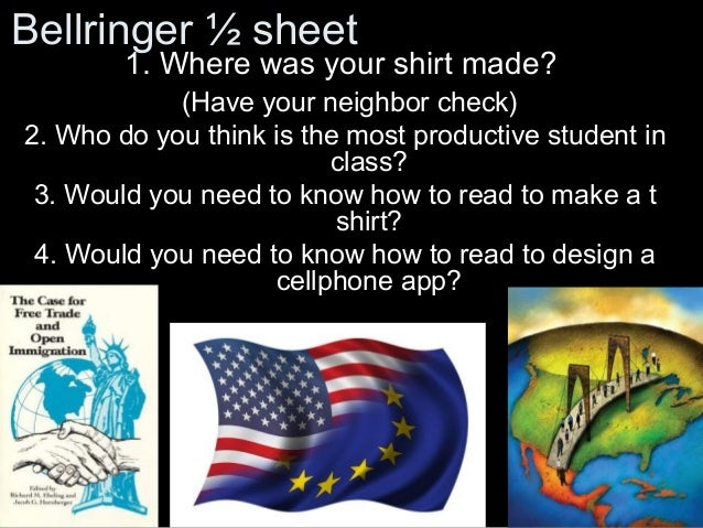 Bellringer ½ sheet  1. Where was your shirt made?  (Have your neighbor check) 2. Who do you think is the most productive s...