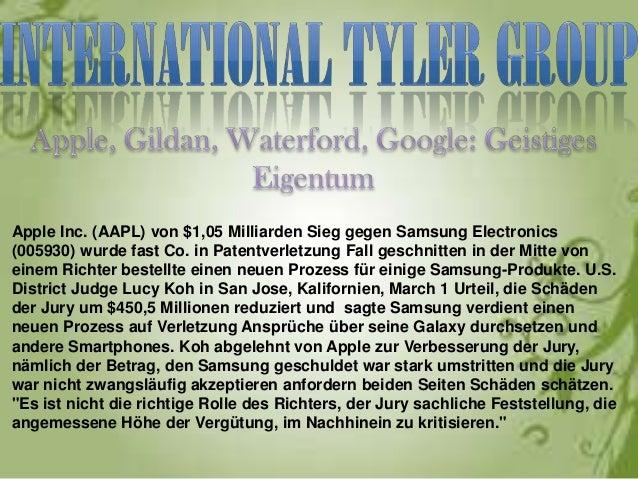 Apple Inc. (AAPL) von $1,05 Milliarden Sieg gegen Samsung Electronics(005930) wurde fast Co. in Patentverletzung Fall gesc...