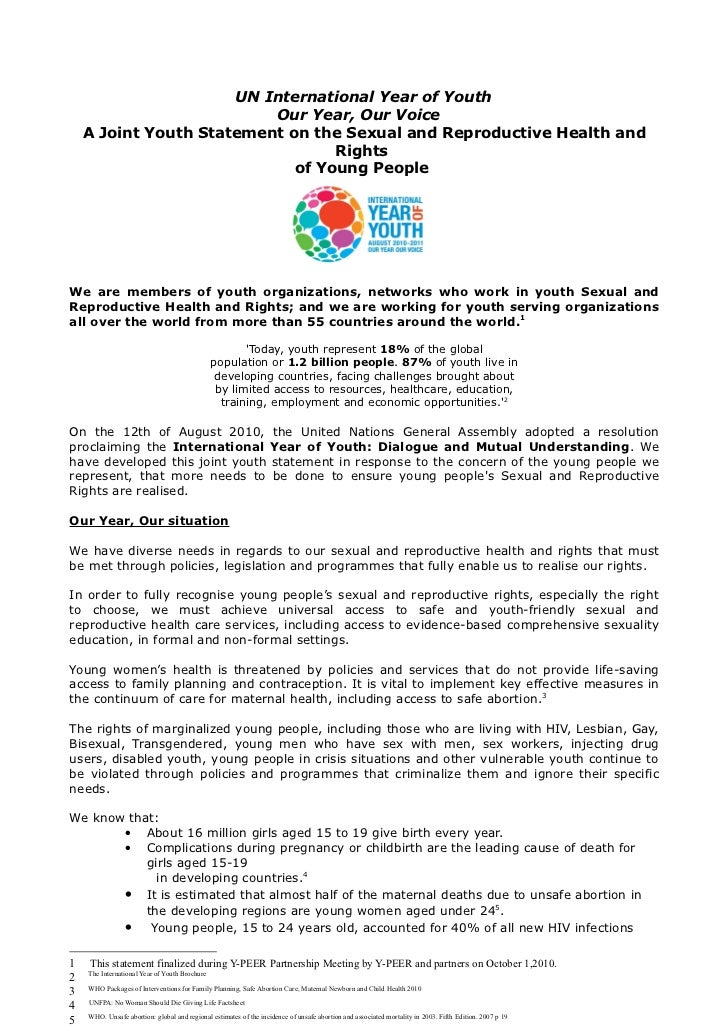 UN International Year of Youth                          Our Year, Our Voice    A Joint Youth Statement on the Sexual and R...