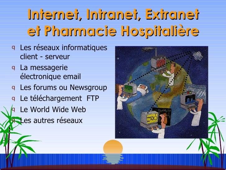 Internet, Intranet, Extranet et Pharmacie Hospitalière <ul><li>Les réseaux informatiques client - serveur </li></ul><ul><l...