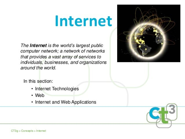 The Internet is the world's largest public computer network; a network of networks that provides a vast array of services ...
