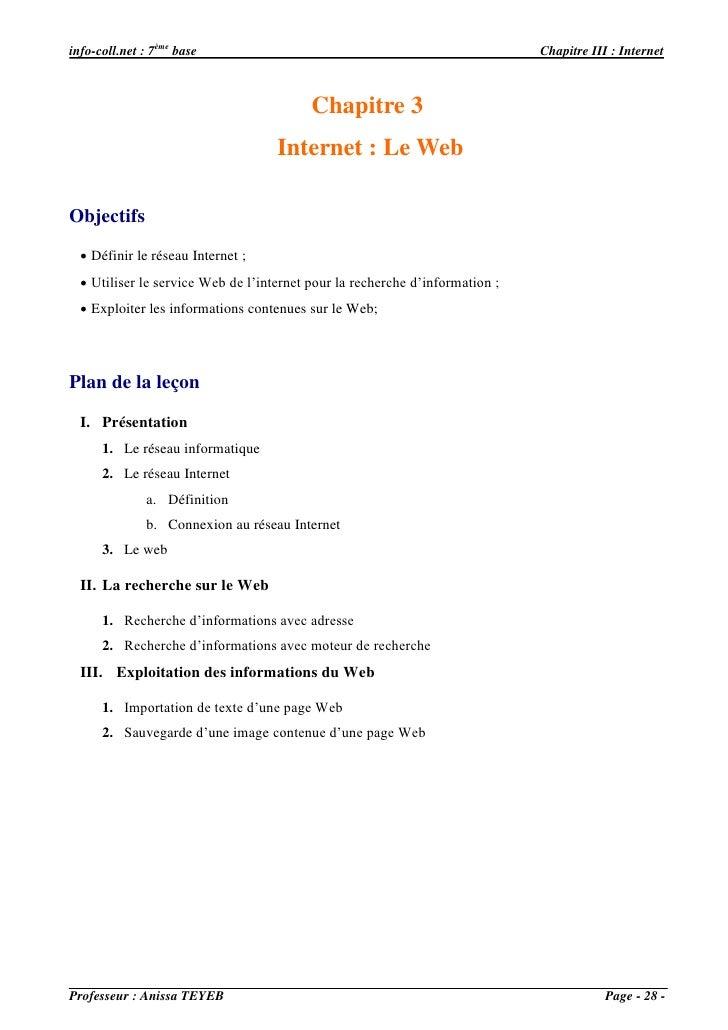 info-coll.net : 7ème base                                                     Chapitre III : Internet                     ...