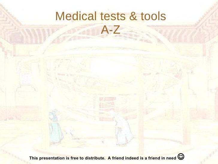 Medical tests & tools A-Z