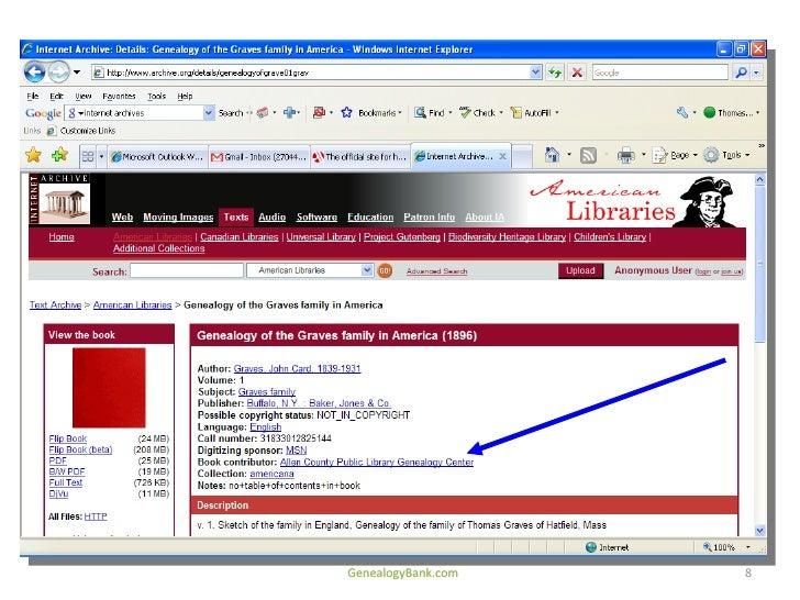 Internet Archive Genealogy Boot Camp Part 728 Cb