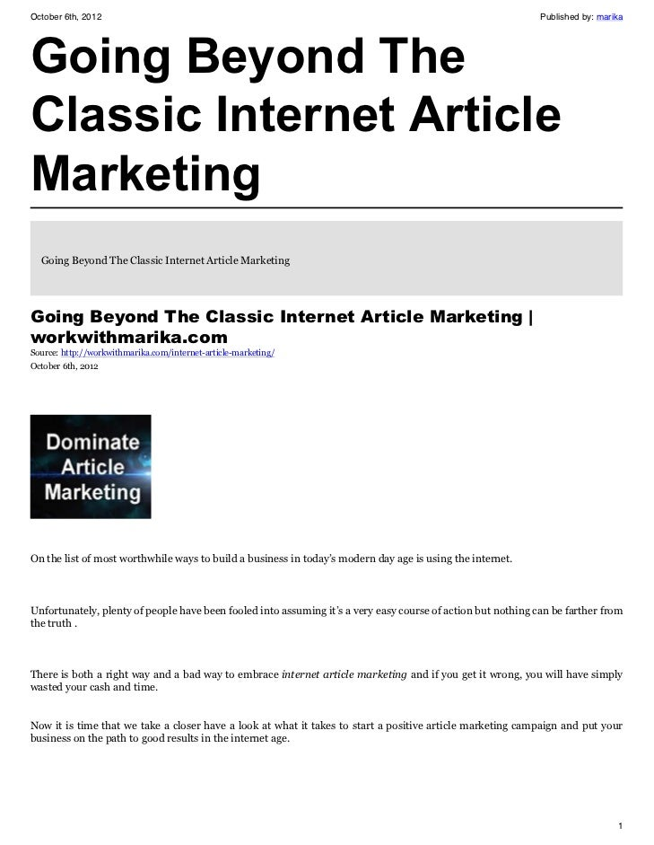 Going Beyond The Classic Internet Article Marketing