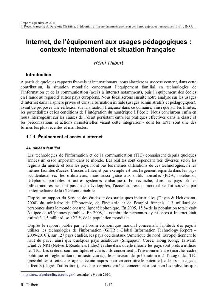 Preprint à paraître en 2011In Poyet Françoise & Develotte Christine. L'éducation à l'heure du numérique : état des lieux, ...